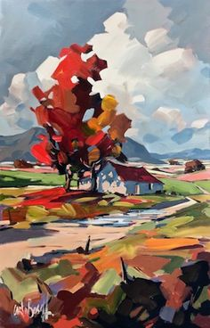 Lovely use of warm and cool colors in this landscape from aboschart Awesome Autumn . Abstract Landscape Painting, Watercolor Landscape, Landscape Art, Landscape Paintings, Acrilic Paintings, Cool Paintings, Portrait Art, Painting Inspiration, Painting & Drawing