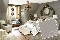 Willow Creek 1468 by Benjamin Moore is a sophisticated backdrop for these Christmas Decorations.