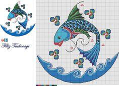 Designed by Filiz Türkocağı. Cross Stitch Sea, Cross Stitch Pillow, Cross Stitch Animals, Cross Stitch Charts, Cross Stitch Designs, Cross Stitch Patterns, Cross Stitching, Cross Stitch Embroidery, Embroidery Patterns