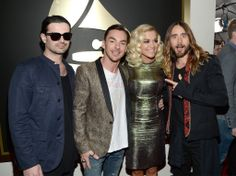 Musicians Tomo Milicevic and Shannon Leto of 30 Seconds to Mars, singer Rita Ora and musician/actor Jared Leto of 30 Seconds to Mars attend the GRAMMY Awards at Staples Center on January 2014 in Los Angeles, California. Grammy Awards 2014, Shannon Leto, 30 Seconds, Thirty Seconds, Rita Ora, Celebs, Celebrities, Jared Leto, Sexy Men