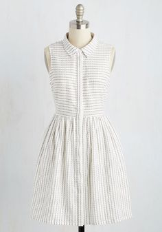 Overcome With Sunlight Dress. When the morning rays tickle you awake before your alarm goes off, outfit your good mood in this white shirt dress! #white #modcloth