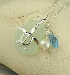 Seaglass Turtle Necklace With Pearl And by seaglassgems4you, $38.00