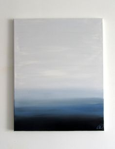 """No. 77 - Modern Abstract Painting 16"""" x 20"""" on regular 3/4"""" depth canvas - Blue, grey, and black"""