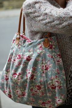 Floral tote bag with leather handles via Emily Carlill