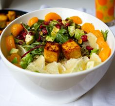 Salad for Breakfast by healthyhappylife: Greens, grains, fruit, seeds/nuts, and sunrise citrus tofu cubes