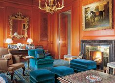 John Stefanidis, Architectural Digest, photograph by Fritz Von Der Schulenburg,living room, paneling, classic, elegant, blue