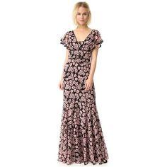 Milly Floral Print Deni Maxi Dress (46.585 RUB) ❤ liked on Polyvore featuring dresses, blush, chiffon maxi dress, short chiffon dress, floral print maxi dress, maxi dresses and flower print maxi dress