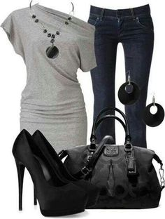Black and grey with skinnys..dressy casual