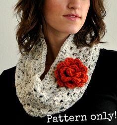 PDF Pattern for Crochet Granny Stripe Cowl with Large Rolled Rose Flower Accent Permission to Sell What You Make