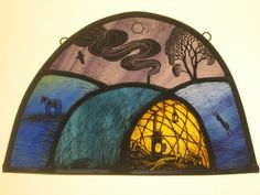 Cosy bender. Stained glass by Tamsin Abbott