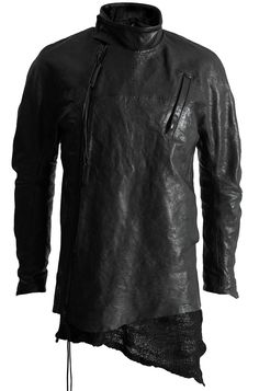 Visions of the Future: LEON LOUIS RAGLAN HORSE LEATHER JACKET W. DETACHABLE MERINO KNIT LINING