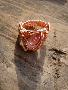 Copper Wrapped // Vera Cruz Amethyst // Wire Ring by Magickwrapper, $54.00