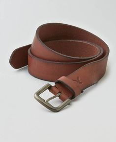 AEO Square Buckle Leather Belt, Women's, Brown