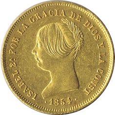 Moneda de oro 100 Reales Isabel II 1854 Madrid.
