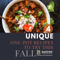 Another thing we LOVE about fall is the FOOD! Check out this list of some one-pot meals we cannot wait to try! We've also included links to the recipes. Photos courtesy of each publication. One Pot Meals, Fall Recipes, Soup, Check, Photos, Pictures, One Pot Wonders, Soups, One Pot Dishes
