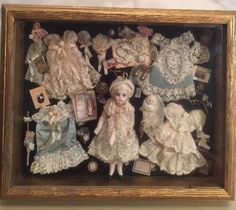 "Cathy Hansen French German 5"" Bisque Mignonette Doll Framed Trousseau OOAK"