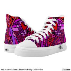 Red Stained Glass Effect Graffiti Printed Shoes - $112.45 - Red Stained Glass Effect Graffiti Printed Shoes - by #RGebbiePhoto @ #zazzle - #Red #Abstract #Graffiti - You'll be kickin with these! Red Stained Glass Effect with purple highlights. Abstract graffiti style artwork, lots of bold color.