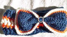 orange blue white Denver Bronco Headband with rhinestone bling https://www.etsy.com/listing/176629837/denver-bronco-headband-ear-warmer