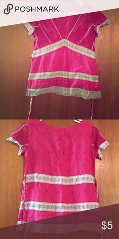 American Eagle Outfitters Shirt Pink and white blouse. Thin fabric. Will look awesome with a cami. American Eagle Outfitters Tops Blouses