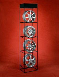Wheel Rim display by abstracta modular displays. Display Design, Store Design, Auto Parts Shop, Tire Rack, Retail Fixtures, Tyre Shop, Old Tires, Salon Interior Design, Wheel Rim