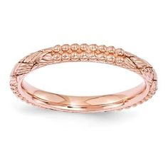Stackable Expressions Sterling Silver Rose Gold-plated Patterned Ring