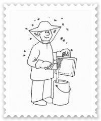Planse de colorat meserii Apicultor #plansedecolorat Bart Simpson, Origami, Character, Origami Paper, Origami Art, Lettering