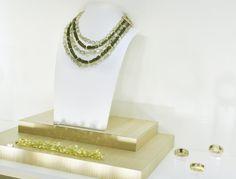 Shop windows of this week:  Necklace, vezuvianite, escapolites, yellow gold, diamonds - Bracelet, quartz lemon briolettes - Rings, diamonds, yellow gold #finejewelry