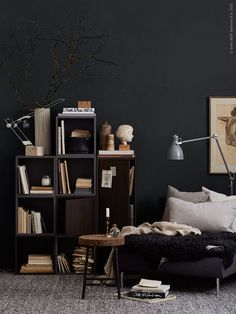 Gravity Home, Dark reading nook by IKEA My Living Room, Living Room Decor, Living Spaces, Cozy Living, Interior Design Inspiration, Room Inspiration, Bookshelf Inspiration, Masculine Interior, Gravity Home