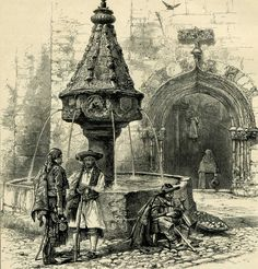 19th century print of the Fountain of the Trinity; it's still there! (Xativa, Spain)
