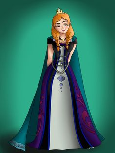 "Princess to Queen by Minxy-Moo.deviantart.com on @deviantART - Tenth in a series showing Disney princesses as queens: Anna from ""Elsa""."