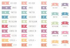 web goodies $5 social media icons . hand drawn. ribbons