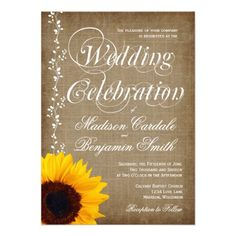 Rustic Country Vintage Sunflower Wedding Invitations with a distressed burlap look background.