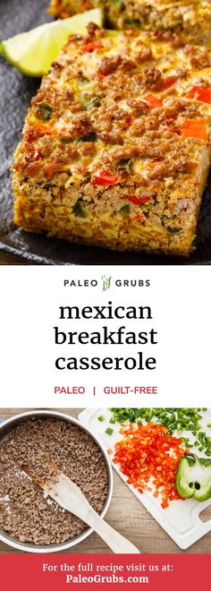 Mexican Breakfast Casserole (So yummy!) If you love breakfast casseroles and if you love Mexican cuisine, then have I ever got a treat for you with this recipe for a Mexican breakfast casserole. It's made entirely from scratch with deliciously spicy paleo Mexican Breakfast Casserole, Mexican Breakfast Recipes, Healthy Breakfast Recipes, Brunch Recipes, Mexican Food Recipes, Real Food Recipes, Cooking Recipes, Breakfast Hash, Desayuno Paleo