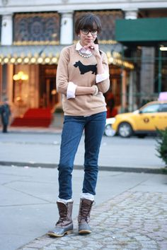 Discover this look wearing JCrew Sweaters, LL Bean Boots tagged scottie - Is Eloise Home? by clarabellecwb styled for Casual, Everyday in the Winter Bean Boots Outfit, Ll Bean Boots, Fall Winter Outfits, Winter Wear, Autumn Winter Fashion, Fall Fashion, Casual Outfits, Fashion Outfits, Prep Fashion