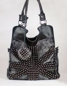 Punk Rivet Jean Cotton Shoulder Bag Jean Bag Denim Handbags, Canvas Shoulder Bag, Shoulder Bags, Balenciaga City Bag, Denim Fashion, Studs, Luggage Bags, Messenger Bag, Purses And Bags