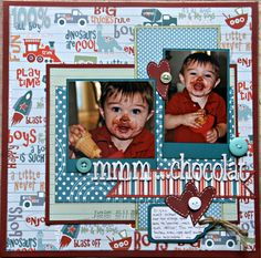 I had this old Doodlebug Designs papers in my stash which were perfect for a dirty face layout about DS first contact with ice cream! Sweet boy with a sweet tooth! Scrapbook Sketches, Scrapbook Albums, Scrapbooking Layouts, Baby Boy Scrapbook, Recipe Scrapbook, Paper Place, Kids Pages, First Contact, Father And Son