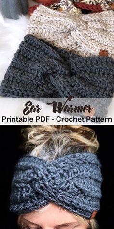 Make a Cozy Ear Warmer crochet headband pattern- crochet ear warmer pattern pdf - head warmer - amor Bandeau Crochet, Crochet Headband Free, Crochet Beanie, Crotchet, Knitted Headband Pattern, Crochet Gifts, Easy Crochet, Crochet Baby, Single Crochet