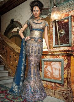 Beautiful fishtail Indian wedding gown in blue and gold. Best Wedding Dresses, Wedding Attire, Bridal Dresses, Dress Wedding, Flapper Dresses, Wedding Hair, Indian Bridal Wear, Asian Bridal, Bride Indian