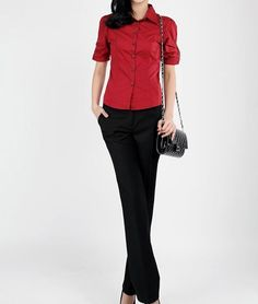 Chic Turndown Collar Half Sleeved Red Cotton Button Down Shirt