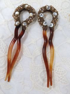 TWO Antique Tortoise Shell Hair Pins with Rhinestones, Pearls, Gold Glass Beads, Horseshoe Shaped, Wedding, Bridal Accessory by UrbanRenewalDesigns on Etsy