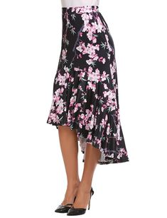 Zeagoo Floral High Low Skirts Elestic High Waist Flowy Women Skirt Blow Knee - best woman's fashion products designed to provide High Low Skirt, High Waisted Skirt, Jackets For Women, Clothes For Women, Women Lifestyle, Printed Skirts, Midi Skirt, Casual Dresses, Style Inspiration