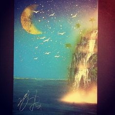 """Spray paint art """"Ocean"""" size  A3 painted by artist TOMOYA"""