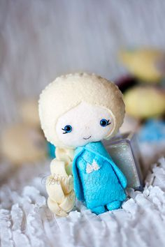Custom Made Elsa Felt Doll Frozen Disney by StitchesByRachelle, $18.00