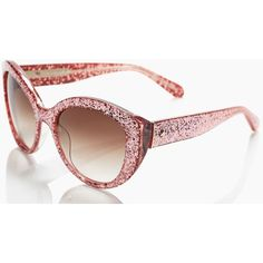 Kate Spade Sherrie ($165) ❤ liked on Polyvore featuring accessories, eyewear, sunglasses, pink glitter, aviator sunglasses, aviator glasses, retro glasses, pink glasses and pink sunglasses