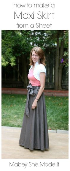 Pinned over 13,000 times! Make a Maxi Skirt from a Sheet   Mabey She Made It #upcycle #sewing #repurpose #maxiskirt #sheet