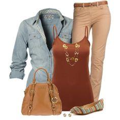 Denim Top Beige Jeans