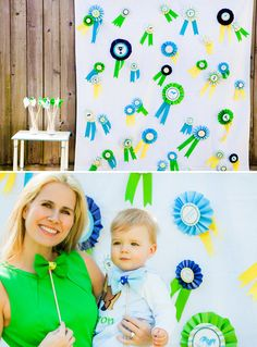 Prize Ribbon Backdrop + Felt Bow Tie Photo Booth Props #KentuckyDerby #Derby #Photobooth