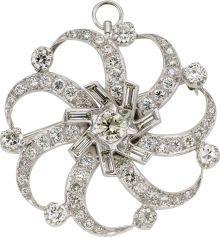 Diamond, Platinum Pendant-Brooch, circa 1950. ... Estate |