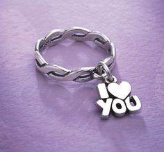 Dangle Ring with I Love You Charm #jamesavery