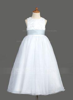 ac12e623a2d A-Line Princess Scoop Neck Ankle-Length Organza Satin Flower Girl Dress  With Lace Sash - JJsHouse